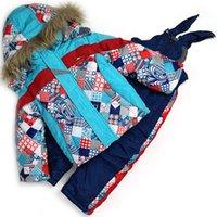 Wholesale pieces High Quality Colored Boys Ski Suit Ski Jacket Ski Pant Wool Collars Boys Snowboard Set Winter Thermal Clothing