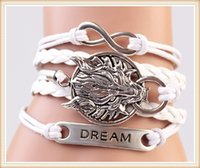 beautiful wolf - Tide style bracelet accessories pin ancient silver wolves and beautiful bracelet DIY craft woven bracelet