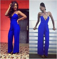 Wholesale Casual Dress Pant Legs - 2016 Wide Leg Jumpsuit For Woman Sexy V-Neck Strappy Club Party Jumpsuits Casual Long Playsuit Pants Summer Outfit