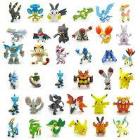 Wholesale 144 Style Poke Figures Toys cm Multicolor Free DHL Children cartoon Pikachu Charizard Eevee Bulbasaur Suicune PVC Mini Model Toy B001