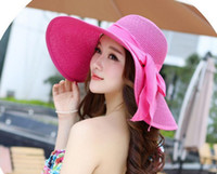 Wholesale 1pc Sun Hat For Ladies Foldable Hat Summer Sun Caps Summer Anti UV Foldable Grass Braid Sun hats