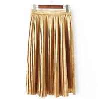 Wholesale Europe Retro Hot Color Waist Dress In European Style Dress Fashion Gift Pleated Skirt Waist Metallic Elastic Color