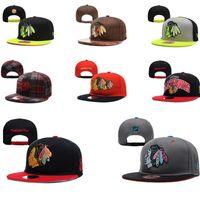 baseball caps chicago - HOT TOP New Arrival CHICAGO BLACKHAWKS Snapbacks Cap Adjustable Sport Hats for Man Woman Baseball Caps Outdoor hat NHLTEAM Hats Black