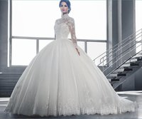 Wholesale Full Lace Wedding Dresses MUslim African Ball Gown Bridal Gowns High Collar COvered Button Court Train Long Luxury Wedding Gowns