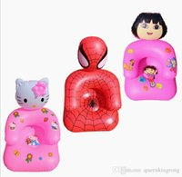 Wholesale Kids PVC Inflatable Lazy Sofa Children Playroom Cartoon Couch Chair Seats Inflatable Air Sofa Minnie hello kitty Cartoon spiderman Seat sale