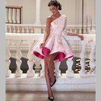 achat en gros de filles une épaule robe courte-Sexy Robes de cocktail courtes 2016 satin dentelle une épaule élégante pour Bridal Party Filles arabe robe de bal Robes de cérémonie