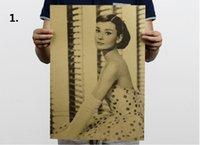 audrey hepburn wall - 500pcs Large Vintage Poster Audrey Hepburn Bar Counter Adornment Kitchen Retro Kraft Paper Movie Poster Wall Stickers CM ZA0933