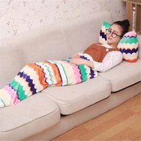 air pillows for sleeping - Cute Style Animal Mermaid Tail Blanket For Girls With Soft Bow Pillow Air Conditioner Sofa Sleeping Bag Wrap Soft Fleece Children Beddings