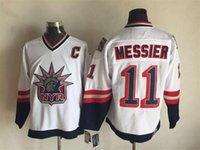 Wholesale NHL New York Rangers MESSIER NEW MEN S Ice Hockey Jerseys white blue colors BRASSARD TKACZUK all sizes MIX ORDER