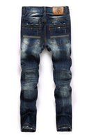 angels jean - Famous design Mens Angel Swing embroidery nightclub Jeans Metrosexual male slim straight ripped patchwork denim trousers Top quality Jean
