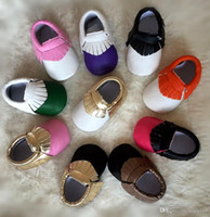 Wholesale 16 Baby Moccasins Soft Sole First Walker Toddler Newborn PU Leather Shoes Multy Color Children Tassel Shoes Low Booties Kids Footwear JS S18