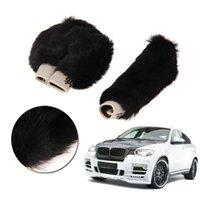 Wholesale 2 Car Gear Shift Cover Winter Warm Soft Plush Handbrake Grips Cover Black Car Decoration
