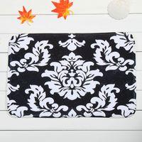 non slip bath mat - White Flowers Black Bath Mats Polyester Coral Fleece Rectangle Cartoon Non slip Bathroom Bedroom Carpet Home Mat