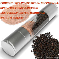 Wholesale 2In1 Salt Pepper Mill Stainless steel double head manual salt and pepper mill