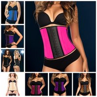 Wholesale Cheap Sale Waist trainer New Latex Training Corset Sport Girdle Steel Boned Bustiers Simplicity Underbust Rubber Corsets Size XS XL