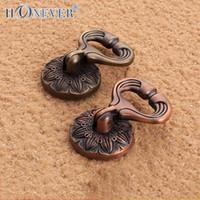 antique medicine - 5pcs Round Ring Handle Traditional Chinese Medicine Cabinet Knob Antique Bronze Door Pull Wardrobe Handle