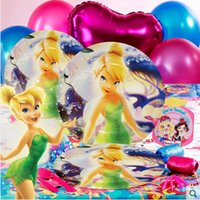 animation paper supplies - 68Pcs Tinker Bell Animation Pattern Birthday Party Set Party Supplies For People Paper Disposable Plate Cups Etc Decor