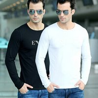 Wholesale Long Sleeve T Shirt Men New O Neck Quality Premium Cotton T Shirts Casual Slim Fit Stretch Men Bottoming Shirt