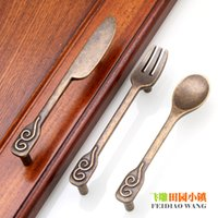 Wholesale Restaurant Kitchen Cabinet Drawer Knob and Handles Cabinet Door Cutlery Drawer Pulls Table Spoon Classical Color Art Creation