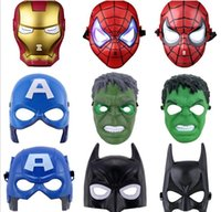 batman lights - LED Flash Mask Children Halloween Masks Glowing Lighting Mask Avengers Hulk Captain America Batman Ironman Spiderman Party Mask Boy Gift