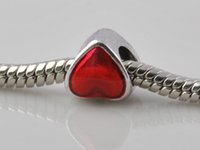 Wholesale Fashion big hole beads sterling silver plated Oil Drop red full love bracelet jewelry Suitable for European charm DIY Pandora style