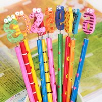 Wholesale 20pcs Writing Painting Standard Pencils With Spring Wooden Cartoon Number Head School Office Gift Creative Stationery Material Escolar