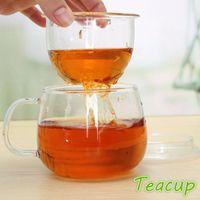 Wholesale Clear High Borosilicate Glass Teacup Mug Coffee Cup Tea Cup With Tea Infuser Filter Lid ml
