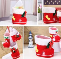 bamboo boots - Christmas Boots Candy Box Christmas Decoration Christmas Wedding Candy Bags Lovely Gifts Xmas Boots Stocking For Children