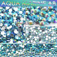 aqua nail art - SS5 mm Aqua Marine AB Nail Rhinestones for Nails Art Glitter Crystal Decoration DIY glue Non Hot Fix Rhinestone decor strass