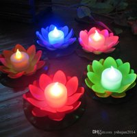 artificial candle lights - Artificial LED Candle Floating Lotus Flower With Colorful Changed Lights For Birthday Wedding Party Decorations Supplies Ornament