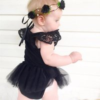 baby girl princess romper - 2016 New Style Cotton Vest Dress Sets Lace Pattern Bowknot Top Pants Baby Girls Clothes Children Costumes Princess Romper Free Ship