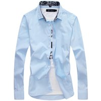 Wholesale Men Shirt Solid Casual Slim Easy Care Long Sleeved Fashion Spring And Summer C12 Light Blue