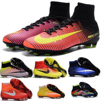 Wholesale 100 original Children Mens Mercurial Superfly FG Girl CR7 Cristiano Ronaldo Soccer Cleats Boys Women Football Boots Kids Soccer shoes