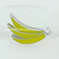 banana necklace - 15846 Enamel Zinc Alloy Fruits Charms Yellow Banana Pendant