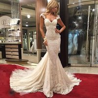 Wholesale 2016 Mermaid Wedding Dresses Sweetheart Cap Sleeves Appliques Lace Tulle Custom Made Wedding Gowns Chapel Train See Through Back