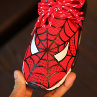 animal print red shoes - 2016 autumn new children s sports shoes boys cartoon Spiderman mesh running shoes comfortable non slip rubber material is good