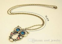 big jewellry - vintage Embedded drill Hollow carved Owl Pendant Necklace New Girl s Fashion Jewellry Silver Vintage Lovely Big Eyes Owl Charms