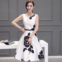 Wholesale Woman s Printing Dress O Neck Sleeveless Black Cheapest Newly Fashion Korean Style NS16060310
