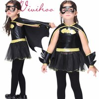 anime patches - Kids Halloween Batman Costume Black Leather Tulle Tutu Dress with Cape Patch Kids Set Batman Cartoon Anime Cosplay Stage Wear free ship DHL
