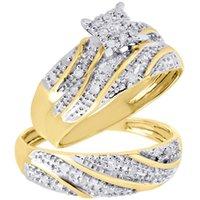 band trio - 10K Yellow Gold Diamond Trio Set Matching Engagement Ring Wedding Band Ct