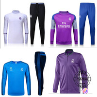 Wholesale 2016 Real madrid Long sleeve Soccer Jersey Ronaldo Modric Kroos Sergio Ramos Bale james home away rd Football training suit
