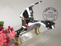 Wholesale Countertop washbasin full copper single holes hot and cold tapsPolished chrome