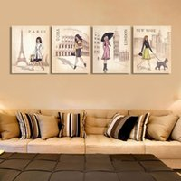 beautiful landscape paintings for sale - 2016 new arrival four pieces beautiful women paintings for home decor different countries fashion women hot sales