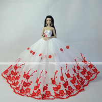 Wholesale Elegent Doll Red White Party and Evening Organza Lace Dresses for inch dolls