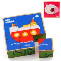 Wholesale Montessori Early educational wooden toy multifunctional intellect puzzle Jigsaw Puzzle cubes Farm animals Bricks Block Building kids Toys