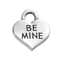 antique mining - Myshape Charms Jewelry antique silver plated heart charm engraved letter BE MINE the pendant for bracelets necklaces making