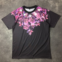 Wholesale women man GVC Europe tide brand new rose jasmine flower five star stars lovers of male and female head short sleeved T shirt