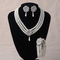 Wholesale simulated pearls wedding necklace earrings bracelet set silver clear plated white pearls brand jewelry outlets sets pric