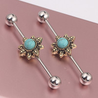 bar earring piercing - Flower Bead Ear Industrial Barbell Scaffold Bar Barbell Piercing Cartilage Earring Body Jewelry Ear BAR
