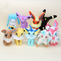 Wholesale 9pcs Poke pikachu plush toy Eevee Espeon Flareon Espeon Glaceon Jolteon Umbreon Vaporeon Leafeon Stuffed soft Plush Toy